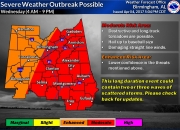 Area Schools Closing Amid Severe Weather Threat on Wednesday; Shelters Open