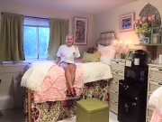 Caroline Medlen in her fully decorated dorm room as a freshman at the University of Alabama in 2015.