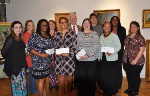 Shown receiving grant checks from Community Foundation of West Alabama Executive Director Glenn Taylor are (Front Row, L to R):  Misty Turner, Christy Elmore, Adrian Sheffield, Kathy Perkins, Melody Williams, Glenn Taylor, Heather Wright, Pressley Albritton, Lori Simms and Terri Byrt.