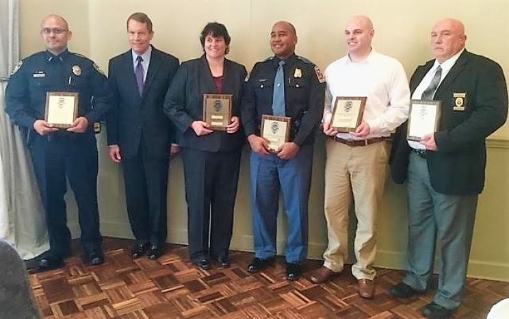 Those honored on Feb. 23 at Law Enforcement Day included (L to R): Officer Rodney Lucio, UAPD; US Attorney Robert Posey; Deputy Suzanne Spencer, Tuscaloosa County Sheriff's Dept.; Senior Trooper Harold Robinson, Alabama Law Enforcement Agency; Officer DL Nichols, TPD; and Lieutenant Tom Kimbrell, NPD