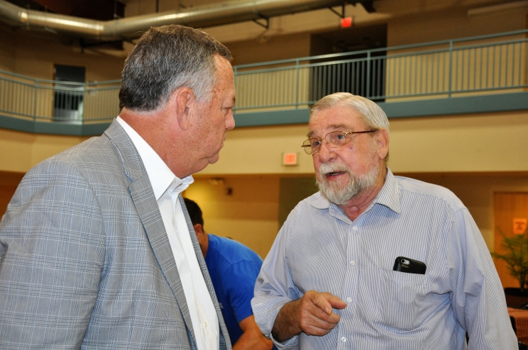 "Rob Moore (left) with the Word Community Church in Northport welcomes Vietnam Veteran Stanley Blevins to the ""Military Appreciation Breakfast"" hosted by the church on Saturday, June 30, 2018. Blevins was among the 150 veterans, families, and friends invited to the breakfast."