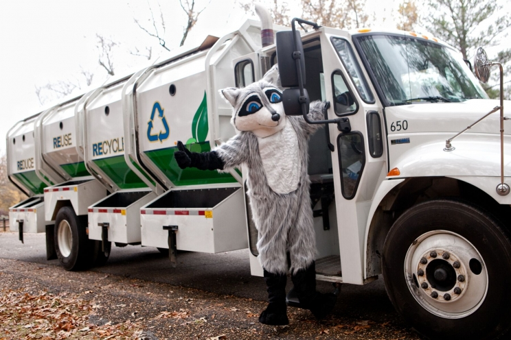 Ricky the Raccoon, the City's recycling program mascot, raises awareness for the Tuscaloosa recycling program.