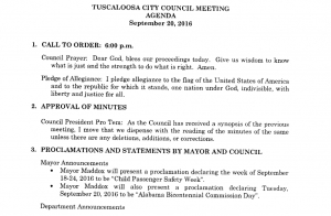 Tuscaloosa City Council Meeting - Sept. 20th Agenda
