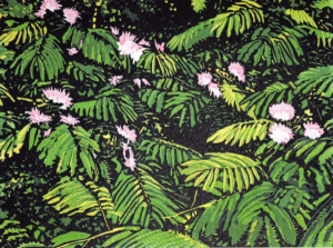 "Mimosa by Laquita Thomson, Reduction linocut, 6 colors from 2 blocks, BFK paper, 11"" x 12,"" on display at Kentuck Art Center through September 30th."