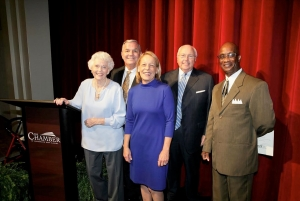 The 2017 Tuscaloosa County Civic Hall of Fame inductees are (L to R): Betty Bailey Shirley, Mike Reilly, Susan Cork, Jimmy Warren, and William Arlington Freeman, nephew of the late Arlington L. Freeman.