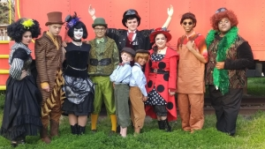 "Front row (L to R): Reagan Branch, James Spruill, Dani Pierce, Kai Miller, Brady Taylor, Madalen Yarbrough, Olivia LeCompte, Jailan Kelly, Kazarious Brown; Back row: Jake Williams; in Tuscaloosa Children's Theatre's production of Roald Dahl's ""James and the Giant Peach."""