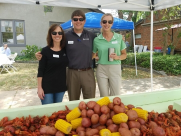 Lori Hayes, Brad Moore and Janru Galloway enjoying the afternoon at the BancorpSouth Crawfish Boil in downtown Tuscaloosa on June 3.