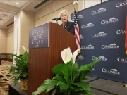 Governor Kay Ivey delivers the keynote address at Chamber in Session: State of the State in Tuscaloosa on May 15.