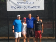 The winning team members of the Hearing Construction Pro Am Tournament, played at NorthRiver on Saturday, May 21 are (L to R) Mike Hearing, Tracey Christian, Gary Henderson, NRYC Director of Tennis, and Evan Enquist.