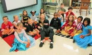 Jenna Strickland's first grade class at Holy Spirit prepares to trick or treat for UNICEF.