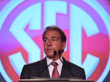 Alabama Crimson Tide head coach Nick Saban speaks to media during SEC Media Days at the Hyatt Regency Birmingham-The Winfrey Hotel in Hoover on July 12.