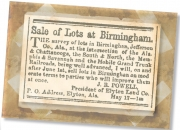 Notice of the initial sale of lots in downtown Birmingham, from The Independent Monitor, Tuscaloosa, May 17, 1871.