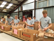 Students work at the West Alabama Food Bank on April 22.