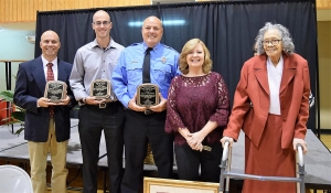(From left): Rafael Alvarez, Michael Holt, Billy Curington, Judy Holland, and Ruby Battle were honored at the annual Northport Citizen of the Year ceremony on Oct. 3. Holland was named Citizen of the Year.