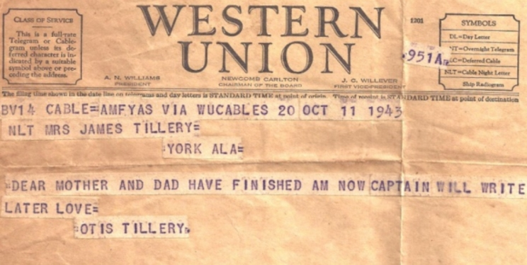 Telegram announcing completion of 25 missions and an end to combat duty.