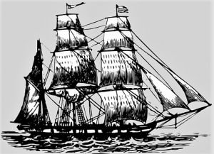 "If the rear mast of a sailing vessel had square sails, she was called a ""ship,"" but if rigged with fore and aft sails (as shown), she was known as a ""bark."" Topgallants are square sails second from the mast tops and deployed in high winds to increase speed. In 1834-35, Tuscaloosa was ship-rigged but on other cruises she was re-rigged as a ""bark"" and likely was similar to this artist's concept by the author."