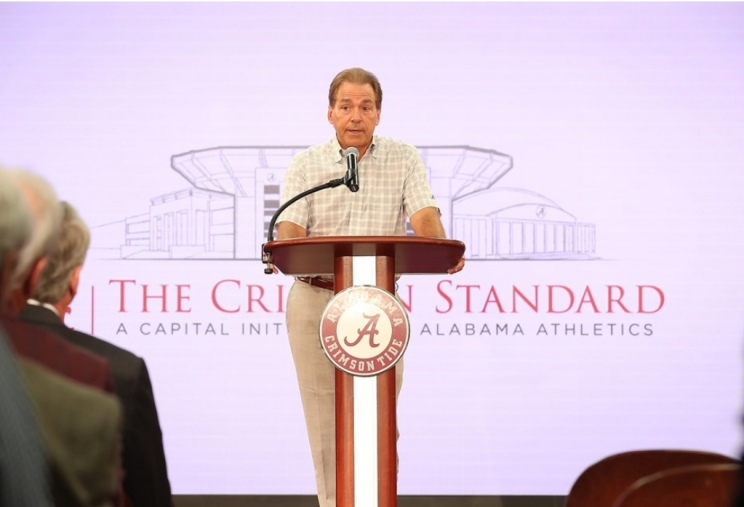 Alabama Coach Nick Saban and his wife Ms. Terry donated $1 million to The Crimson Standard.