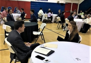 Alabama Secretary of State John Merrill participates in a mock interview with ACA senior Allie Swann on March 22. Swann plans to attend the University of Alabama this fall.