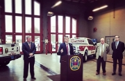 Tuscaloosa Fire Chief Alan Martin, the University of Alabama's Dr. Richard Friend, and Mayor Walt Maddox announce ACTION – a partnership to provide a first-of-its-kind in Alabama program. (Jan. 11, 2018)