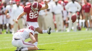 Alabama kicker Andy Pappanastos struggled during A-Day, missing both of his field goal attempts.