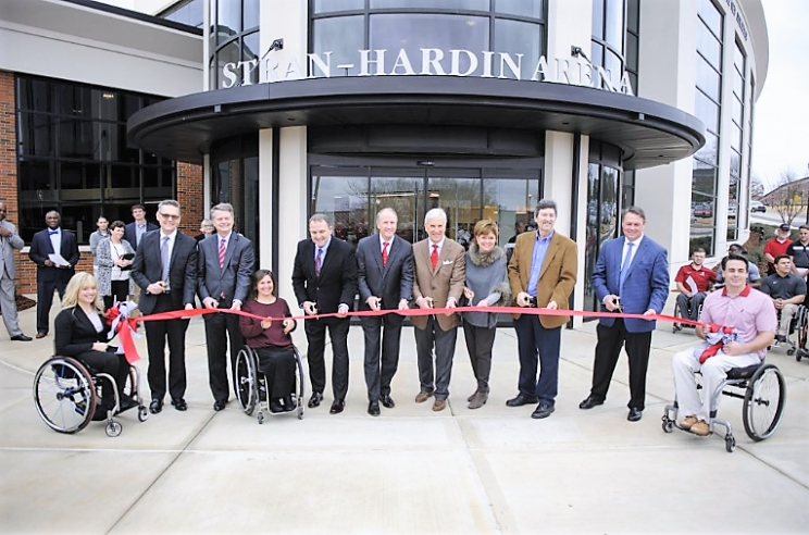 The University of Alabama celebrated the completion of Stran-Hardin Arena, a multi-use facility for UA's Adapted Athletics program. Pictured, from left: Maude Jacques, women's wheelchair tennis player; Dr. Peter Hlebowitsh, dean, UA College of Education; C. Ray Hayes, chancellor, UA System; Dr. Margaret Stran, associate director, UA Adapted Athletics; Dr. Brent Hardin, director, UA Adapted Athletics; Stuart R. Bell, UA president; Mike and Kathy Mouron, UA alumni and donors; Jasper Cornett, vice president, KPS Group; Tim Harrison, Harrison Construction; and James Cook, men's wheelchair basketball player.
