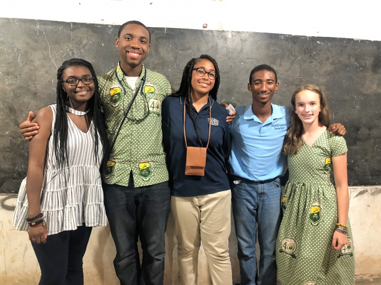 Tuscaloosa Sister Cities International Student Delegation members (L to R): Ashton Anthony, Brandon Walton, Brianna Byrd, Jeramiah Lowther, and Claire Laubenthal visit Kesse Basahyia Senior High School in Ghana.