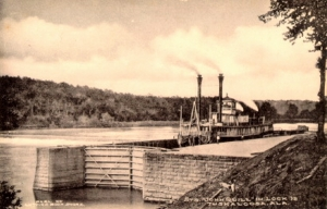 John Quill in Lock 12, circa 1905. This site is now known as Manderson Landing.