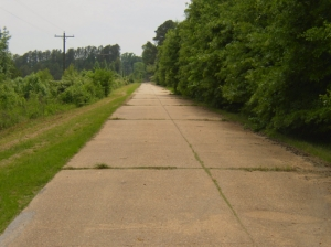 An abandoned segment of Highway 11 south of Tuscaloosa in Fosters. The 50-foot spaced expansion joints generate a characteristic thumping sound when crossed by vehicle tires.