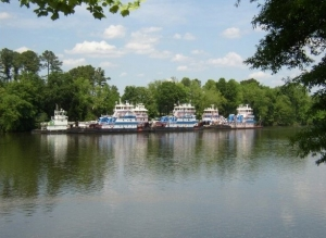 The Black Warrior River and part of Parker Towing Company's fleet viewed from the Tuscaloosa Riverwalk.