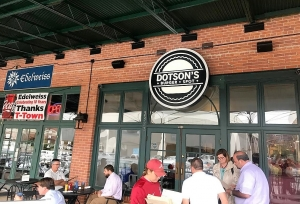 Dotson's Burger Spot is located in Temerson Square, between Edelweiss Germany Bakery and Velocity Pro Cycle.