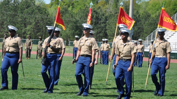 Marine Junior ROTC from Paul W. Bryant High School in Tuscaloosa marching during the recent Change of Command Ceremony held on April 12, 2018, at the parade Field in Bryant High School.
