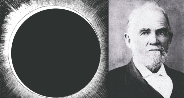 Left: An artist's concept of the Eclipse of 1834. According to NASA, the path of totality passed over West Alabama and darkness covered a swath from below Tuscaloosa to above Jasper and was centered over Fayette County where Powell lived at that time. Right: Ezekiel Abner Powell opposed secession from the Union and advocated an early end to the Civil War.