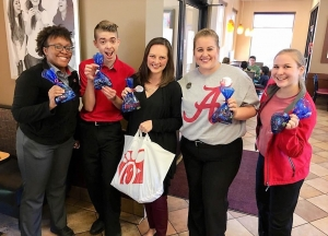 Chick-Fil-A Northport Owner and Operator Ashley Gill (center) with employees (L to R) Regina Lard, Zac Jones, Ashlin Shuttlesworth, and Case Sims.