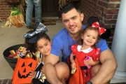 Dad Kyle Jernigan with his daughters Ashley (7) and Joanna (3) last Halloween.