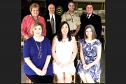 Grant recipients are: Seated L-R: Nisa Moore, Junior Achievement; Jean Rykaczewski, WA Food Bank; and Kathryn Adams, Boys & Girls Club. Standing, L-R: Vickie Kerr, Caring Days; Larry Deavers, Family Counseling Services; Bill Gosselin, Boy Scouts; and Bill Shafer, Salvation Army. >