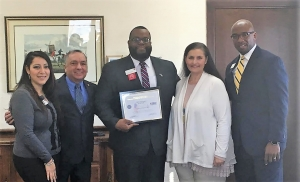 Left to Right: Wells Fargo team member America McCalpine, retired Lieutenant Colonel Nicolas Britto, Wells Fargo Branch Manager DeVon Averett, Wells Fargo Central Alabama Market Region Bank President Leigh Collier, Wells Fargo District Manager Julius Peterson