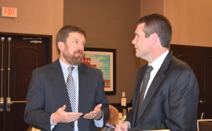 Rep. Bill Poole talks with Tuscaloosa Mayor Walt Maddox at the 2015 Chamber in Session: Washington Update.