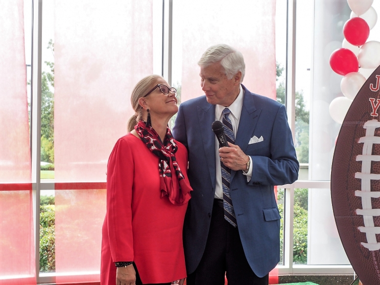 Former University of Alabama Athletics Director Bill Battle and his wife, Mary – an oncology nurse – at Just For You Day, which celebrates cancer survivors. Battle was first diagnosed with multiple myeloma in 2014.