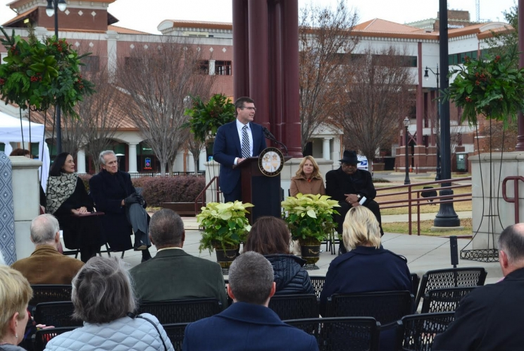 Tuscaloosa Mayor Walt Maddox addresses the crowd during the dedication of the Government Plaza gazebo on Dec. 13, 2018. The ceremony that kicked off Tuscaloosa's yearl-long bicentennial celebration.