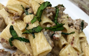 DCL Recipes: Rigatoni Pasta with Sausage and a Delicious Blueberry Lemon Cake