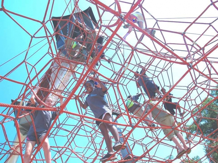PARA Day Camp participants try out the space net at Snow Hinton Park.