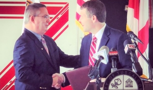 Tuscaloosa Mayor Walt Maddox named Randy Smith chief of the Tuscaloosa Fire and Rescue Service at Fire Station Four on June 11.
