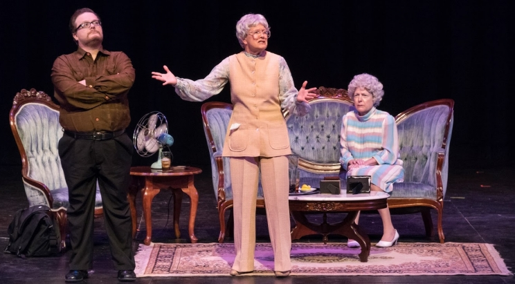 From Left: Adam Miller, Kathy Wilson, and Drew Baker in The End of a Line during ACTFest 2017. Theatre Tuscaloosa was named Best in Show for the performance.