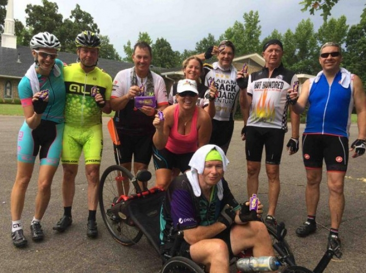 "We ""B"" Ride'n members (L to R) Gabrielle Moody, Tim Benefi eld, Katherine Nichols, Ted Goode,  Fred Twilley, Bryan Robinson, Shelley Cooper and Brian Smith take the time to check out road conditions for Hot Hundred by completing a 103-mile pre-ride."