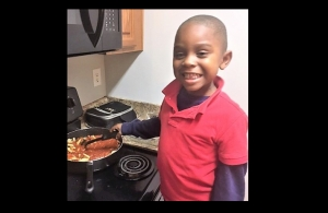 Beaux William cooking pasta for the first time. Cooking with your kids is a fun way to help them assert independence, while spending quality time with you.