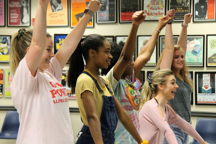 (L to R): Aislinn Cain, Zion Lewis, Callie Walker, Teaira Smith, and Emily Keller, rehearsing choreography for Grease, which runs July 12-21 in the Bean-Brown Theatre.