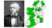(Left) Professor Michael Toumey, First Alabama State Geologist. Daguerrotype by Eugene Allan Smith, courtesy of Wikipedia Commons. (Right) Early Tuscaloosans born in Ireland were native to at least 14 counties (shown in green). Base map courtesy of Getdrawings.com.